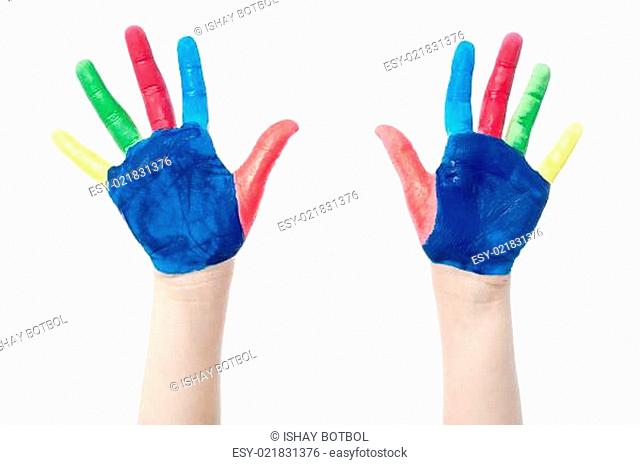 Painted hands, colorful fun over white