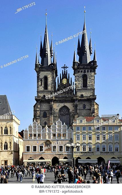Tyn School, Tyn Church, Old Town Square, historic district, Prague, Bohemia, Czech Republic, Europe