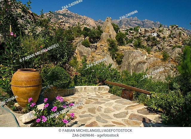 The village of Kapikiri at the foot of Mt Latmos on the shore of Lake Bafa in southwestern Turkey