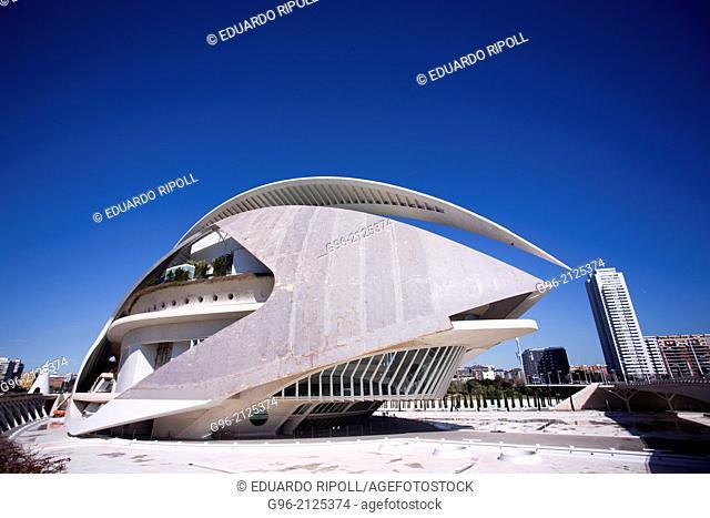 Palau de les Arts Reina Sofia opera house at the Ciudad de las Artes y las Ciencias de Valencia by Santiago Calatrava
