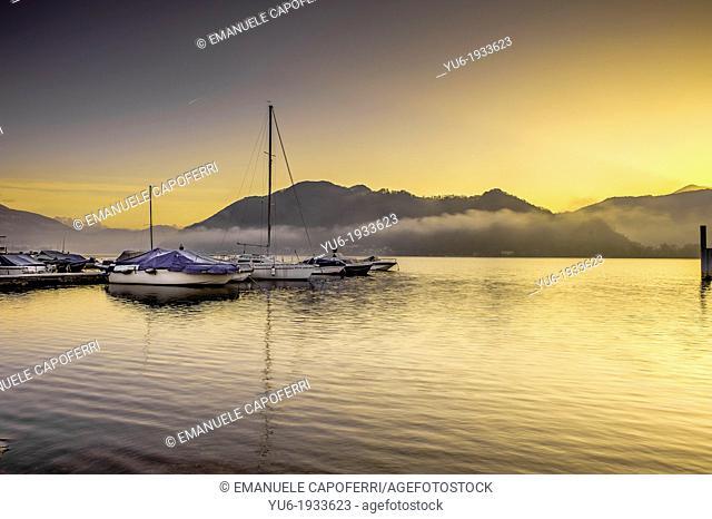 Sunrise over Lake Lugano, Italian side, Brusimpiano, Varese, Lombardy, Italy