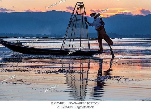 Fisherman on Inle Lake fishing, Myanmar