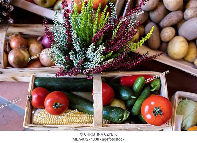 Erntedankfest aka Harvest Fest with boxes of organic veggies