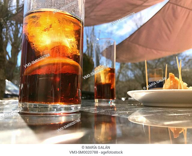 Glasses of vermouth in a terrace