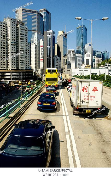 Traffic jam on a toll highway between Aberdeen and Admiralty, Hong Kong Island, Hong Kong, China