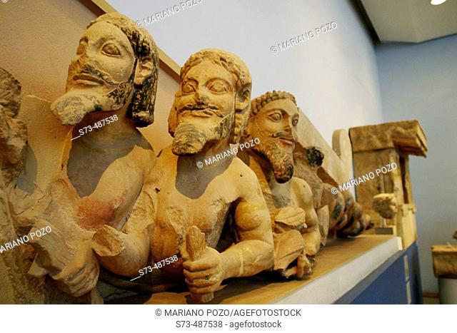 Nereas, Three Bodied Demon, detail. The Acropolis Museum. Acropolis. Athens. Greece