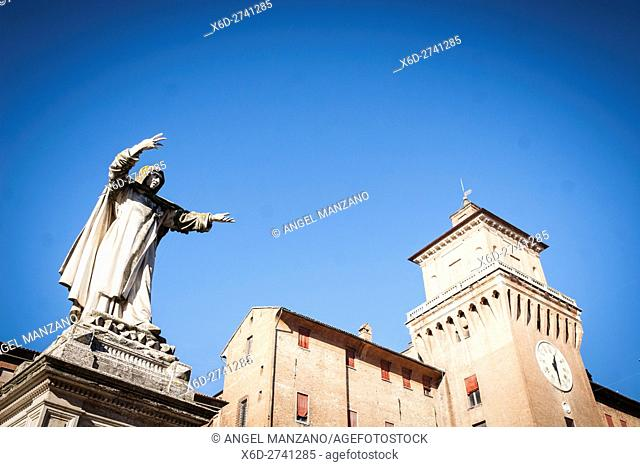 View of Castle Estense or Castle of St Michael from Piazza Savonarola, with statue of monk in foreground, Ferrara