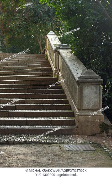 Steps in Park near Alhambra in Granada, Spain