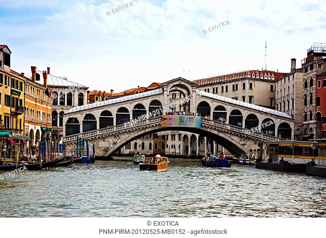 Bridge over a canal, Rialto Bridge, Grand Canal, Venice, Veneto, Italy