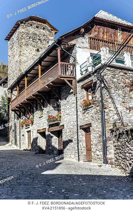 Rural architecture of village of Plan, Gistain Valley, Huesca, Aragón, Spain