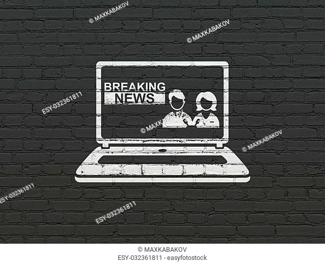 News concept: Painted white Breaking News On Laptop icon on Black Brick wall background
