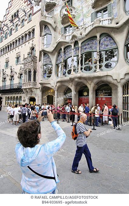 Batllo House by Antoni Gaudi, Barcelona, Catalonia, Spain