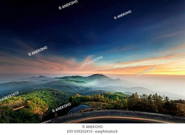 Doi Inthanon National park in the sunrise, mist and main road at Chiang Mai Province, Thailand