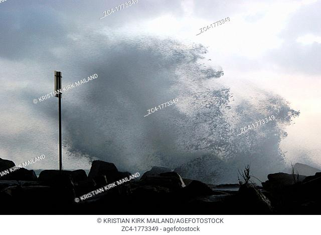 Storm makes the sea spray high waves. The Baltic Sea