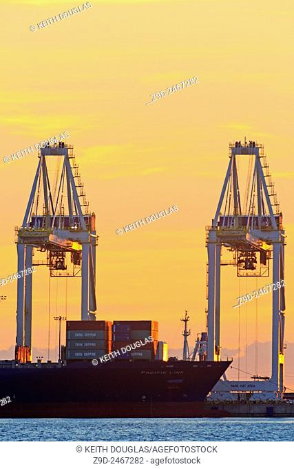 Container cranes atsunset, Deltaport container terminal, Roberts Bank, British Columbia