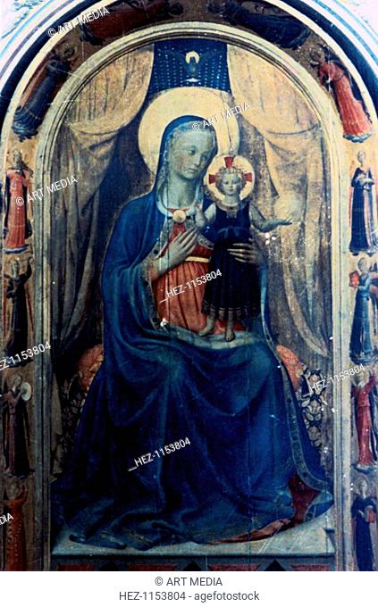 'Beato Angelico', c1433. The Virgin Mary and the infant Jesus with border of angels. Central panel from the Linaiuoli Tabernacle