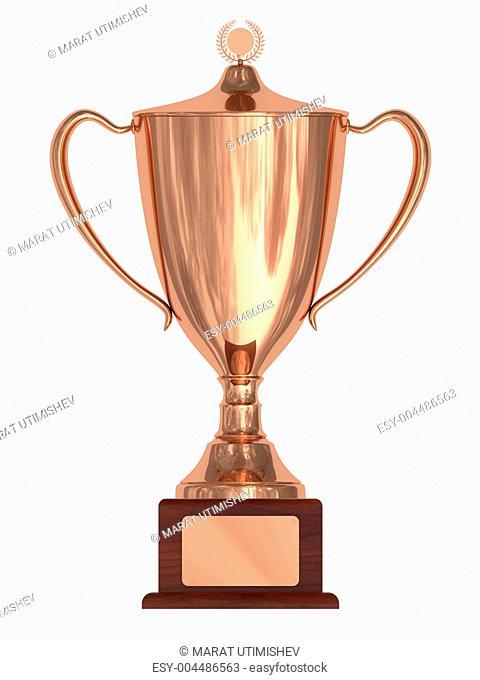 Bronze trophy cup on wood pedestal