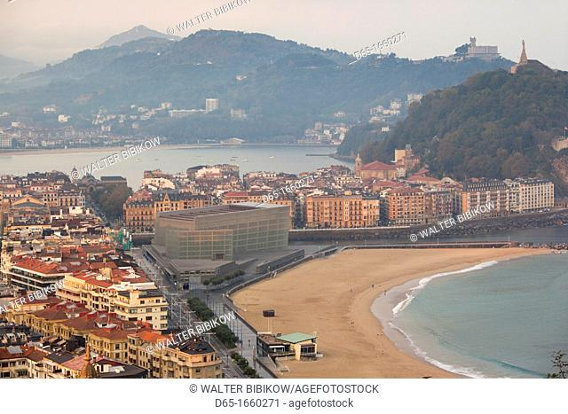 Spain, Basque Country Region, Guipuzcoa Province, San Sebastian, elevated view of town and Kursaal convention center from Monte Ulia, dawn