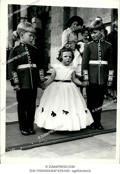 Apr. 04, 1956 - Duke's Son Marries At St Martin-In-The-Fields: The wedding took place today between Captain Lord Edward Fitzroy, of the Coldstream Guards