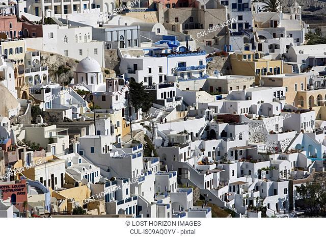 View of white washed hillside town, Oia, Santorini, Cyclades, Greece