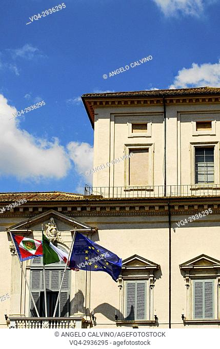 Flags of Italy and Europe on the Quirinal Palace, Palazzo del Quirinale, official residence of the President, Rome, Italy
