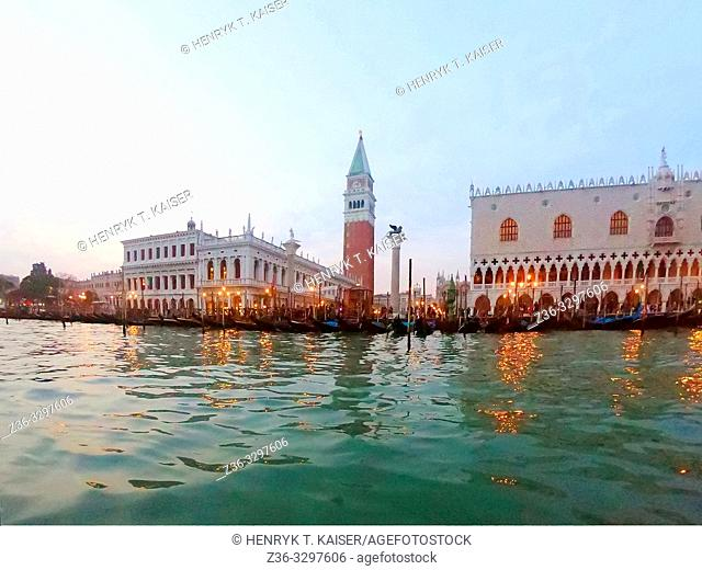Late evening view on Venice from Grand Canal, Italy