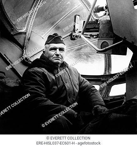Maj. Gen. Simon Bolivar Buckner in a cockpit of an airplane, ca. 1942-45. He was the highest ranking U.S. officer killed in action in World War 2