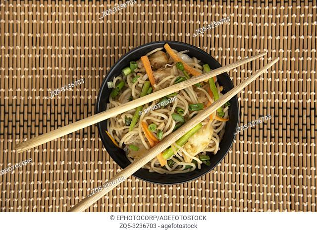 Garlic Noodles with chopsticks, top view, Pune, India