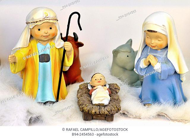 Nativity scene or crèche also known as a manger scene, or crib, special exhibition, particularly during the Christmas season