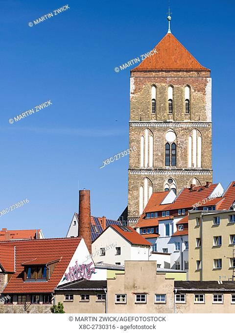 Church Nikolaikirche . The hanseatic city of Rostock at the coast of the german baltic sea. Europe,Germany, Mecklenburg-Western Pomerania, June