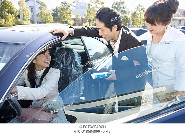 Japanese Family taking a test drive