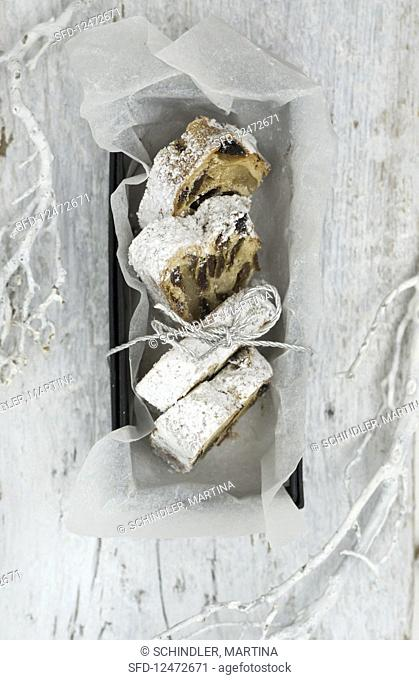 Stollen cake in a box