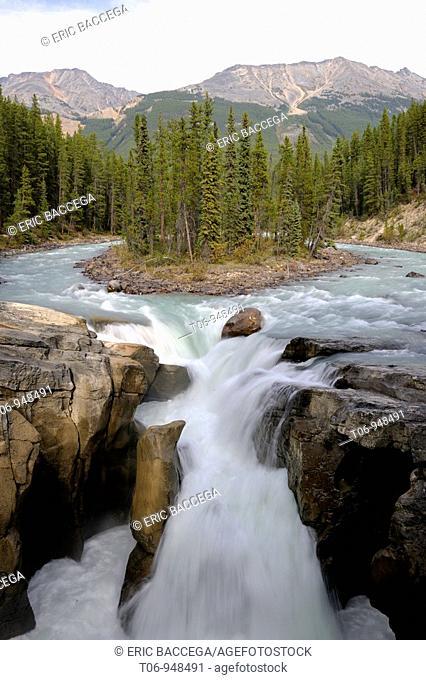 Sunwapta river Falls, Jasper National Park, Rocky Mountains, Alberta, Canada