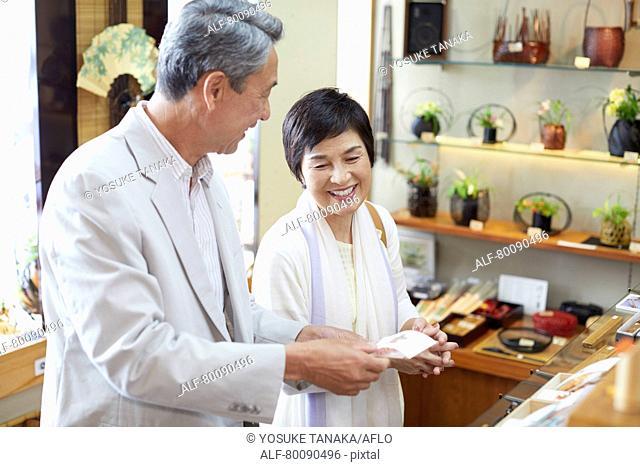 Japanese senior couple shopping