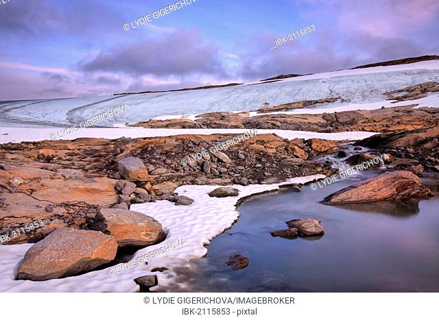 The melting glacier near Rago peak, Rago National Park, Nordland county, Norway, Scandinavia, Europe