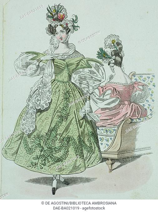 Woman wearing a green dress decorated with plant motifs, puffed sleeves with lace and flowers in her hair and a woman wearing a pink dress with puffed sleeves...