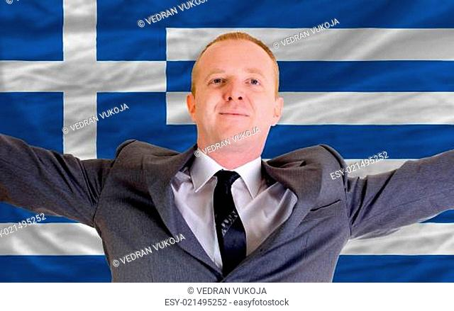 happy businessman because of profitable investment in greece sta