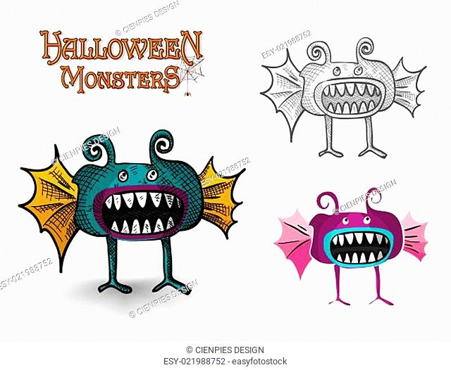 Halloween Monsters spooky creature illustration EPS10 file