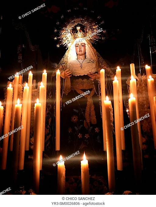 An image of the Virgin Mary is displayed during Semana Santa in Prado del Rey, Sierra de Grazalema, Andalucia, Spain