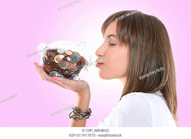 Pretty Woman Kissing Piggy Bank
