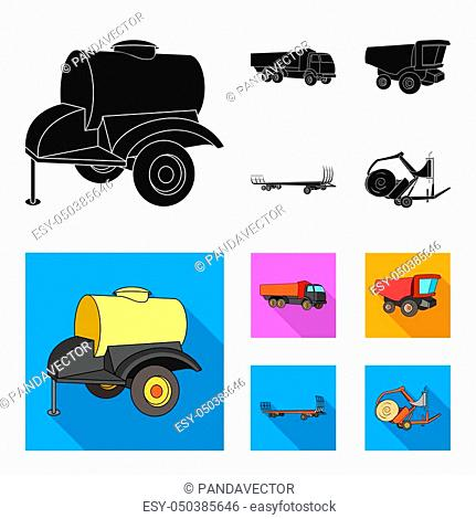 Trailer with a barrel, truck and other agricultural devices. Agricultural machinery set collection icons in black, flat style bitmap symbol stock illustration