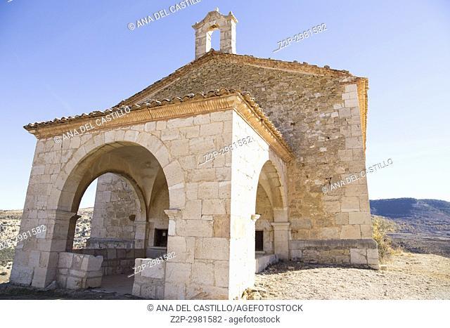San Cristobal chapel Villarluengo Medieval architecture Maestrazgo county. Teruel, Aragon, Spain
