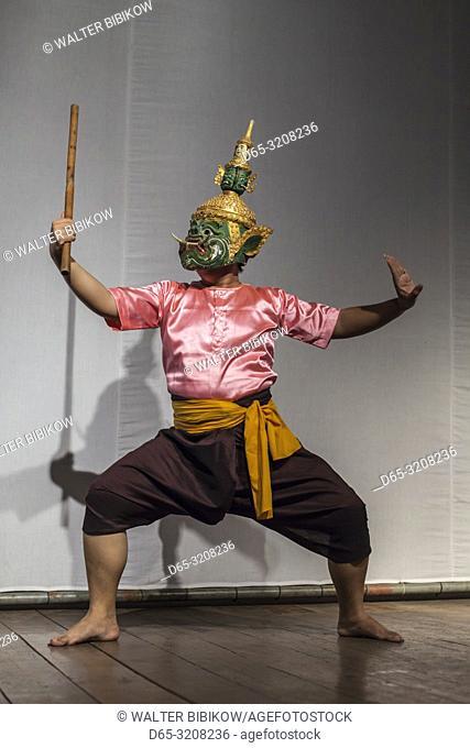 Cambodia, Phnom Penh, traditional dance performance, actor portraying monkey God