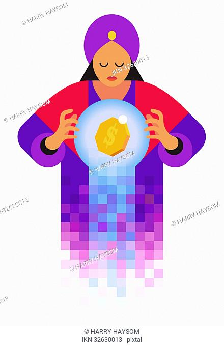 Fortune teller looking in crystal ball with dollar sign