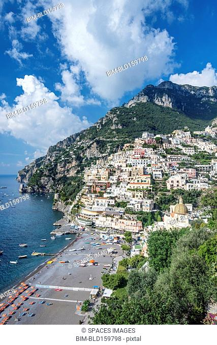 Aerial view of beach and Positano cityscape, Salerno, Italy