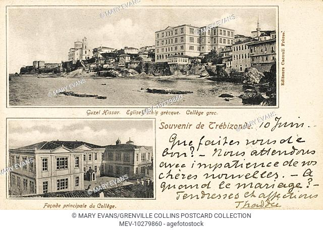 The Greek Orthodox Church and the Greek College in the foreground and the Guzel-Hissar in the rear at Trabzon on the Black Sea coast in north-eastern Turkey