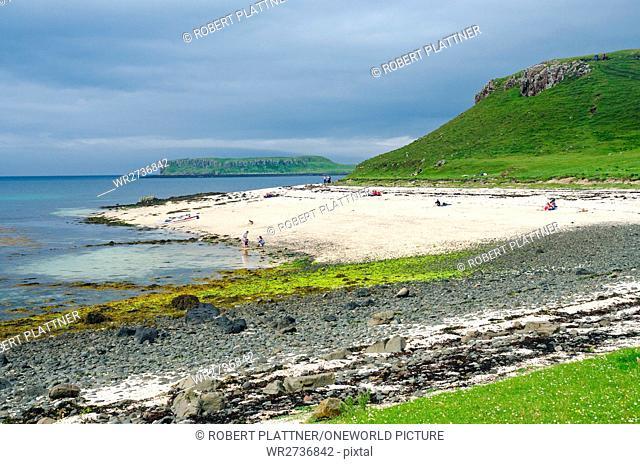 United Kingdom, Scotland, Highlands, Isle of Skye, Coral Beaches at Claigan, Loch Dunvegan