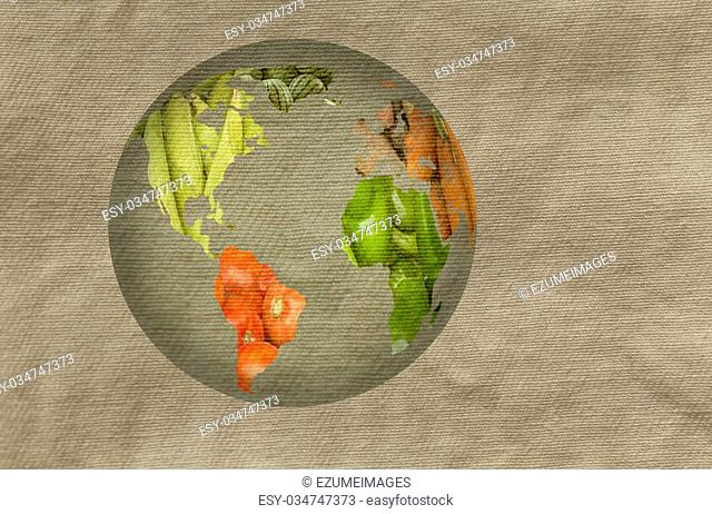 World map collage of lots of popular fruits and vegetables