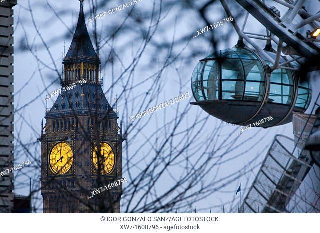 London Eye Noria at the sunrise in London England, UK