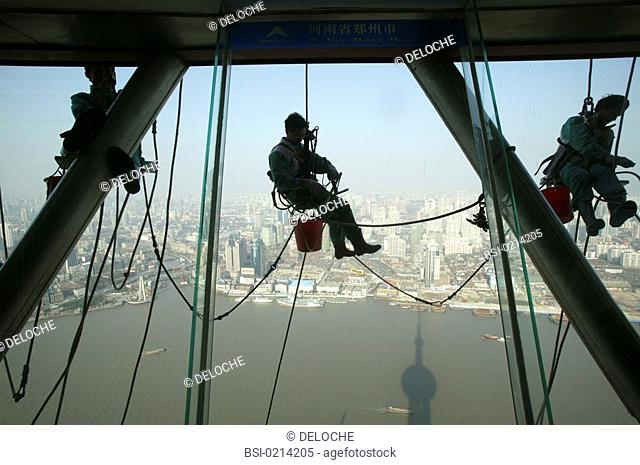 CHINA<BR>Window washer on the Pearl of the Orient